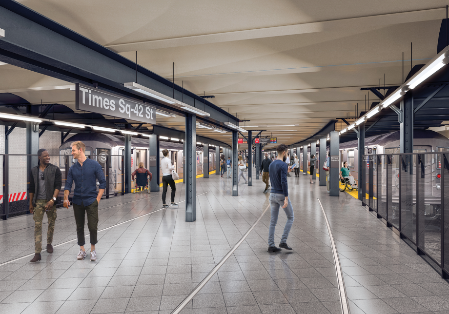 A 3D rendering of the rebuilt 42 St Shuttle platform at Times Square