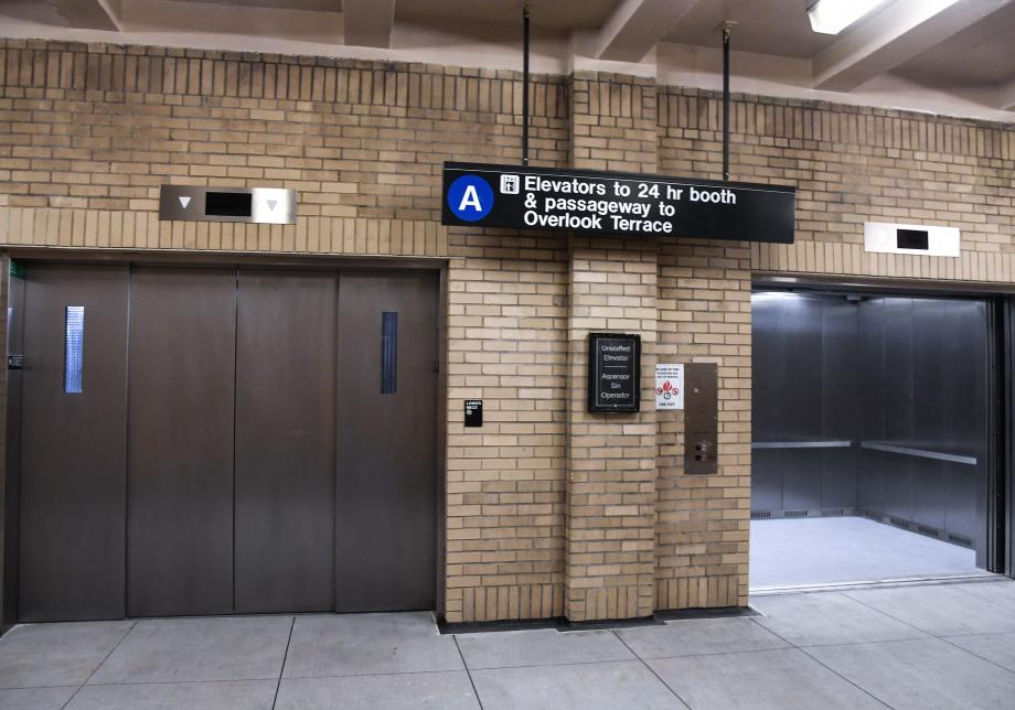 A photo of the new elevators at the 181 Street A station at street level
