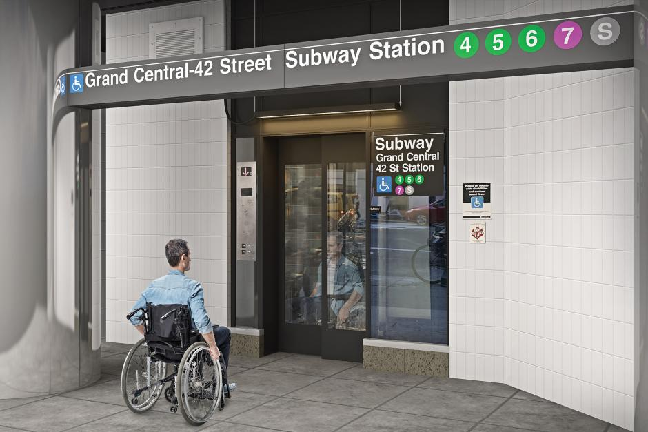 A 3D rendering of a new elevator that provides access to all lines convering at Grand Central Station on 42 St