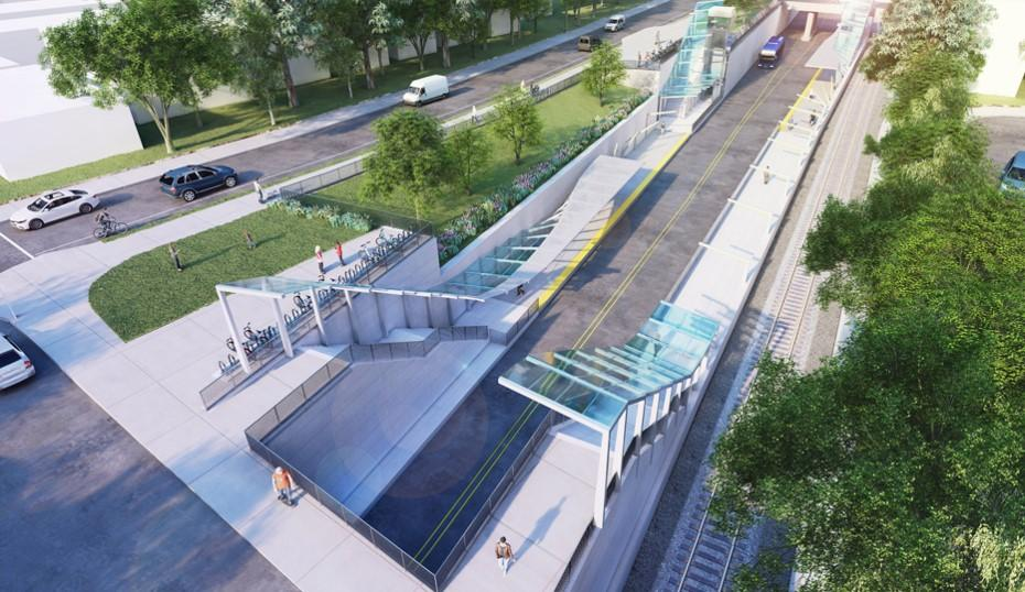 Digital rendering of the North Shore BRT Mariners Harbor Station