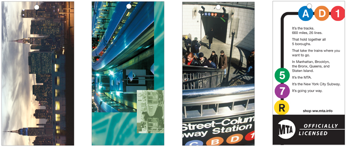 Four mockups of merchandise hang tags show examples of tags with photos, contemporary photos with historic photos, and graphics using subway route indicators.
