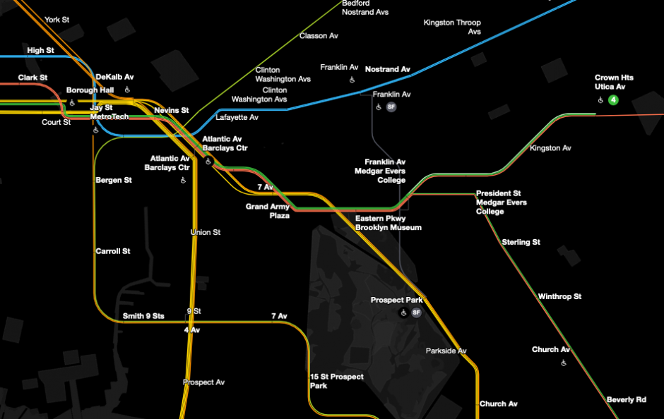 A screenshot of a subway map, showing colored subway lines going through stations including Jay St-MetroTech, Atlantic Av-Barclays Center, President St Medgar Evers College, and Crown Heights-Utica Av. The International Symbol of Access appears near accessible stations.